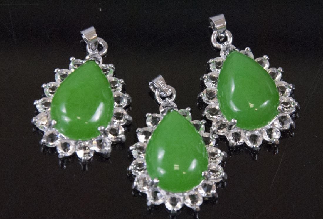 Three Pear Shape Jade Necklace Pendants w Halos