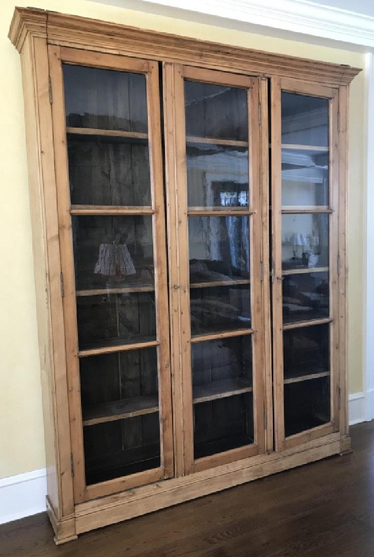 Custom Antique Pine Wood Library Display Cabinet