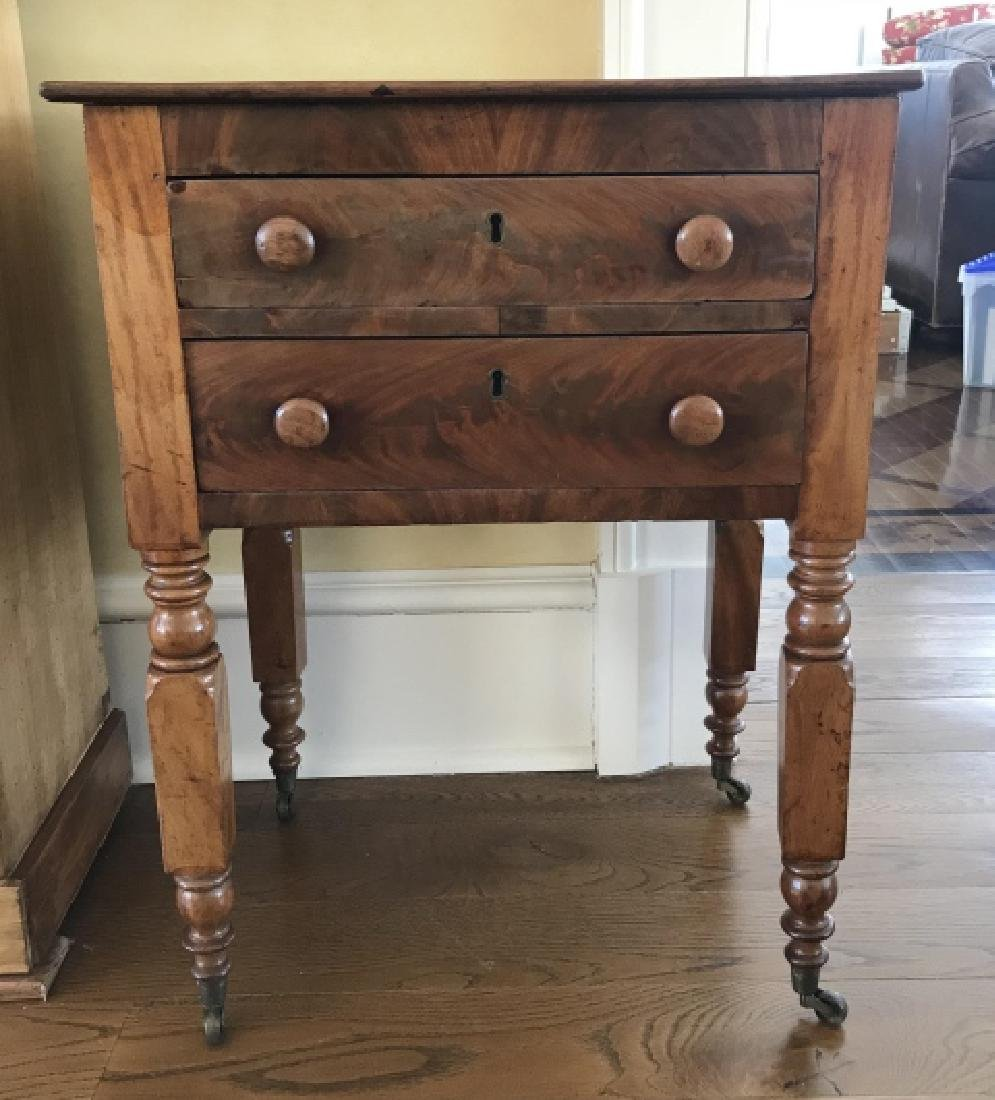 Antique 19th C American Empire End Table w Drawers