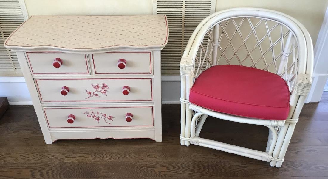 Hand Painted Chest of Drawers & Bamboo Armchair