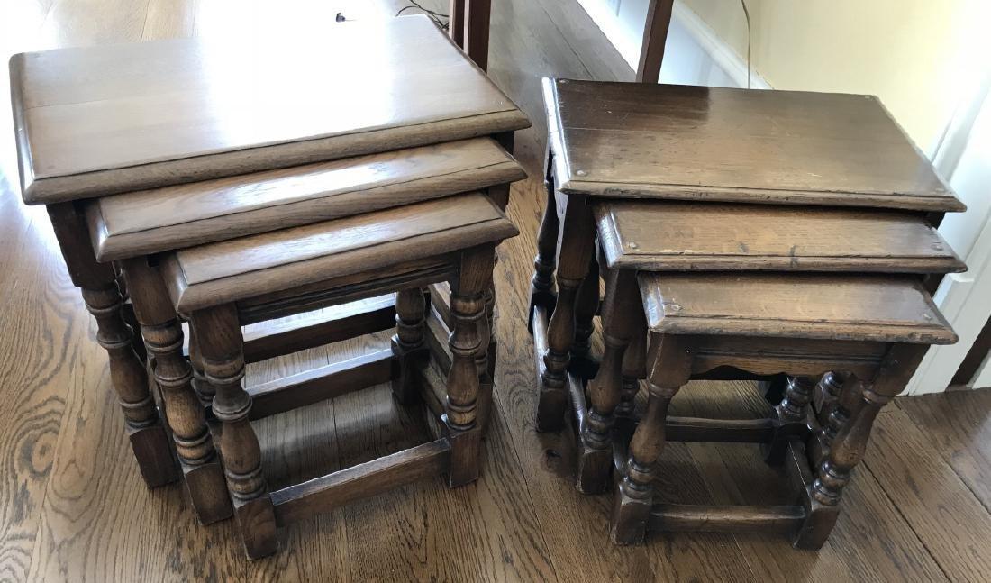 English Jacobean / Tudor Style Nesting Table Sets