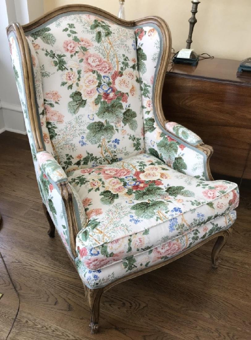 Custom Upholstered French Style Carved Armchair