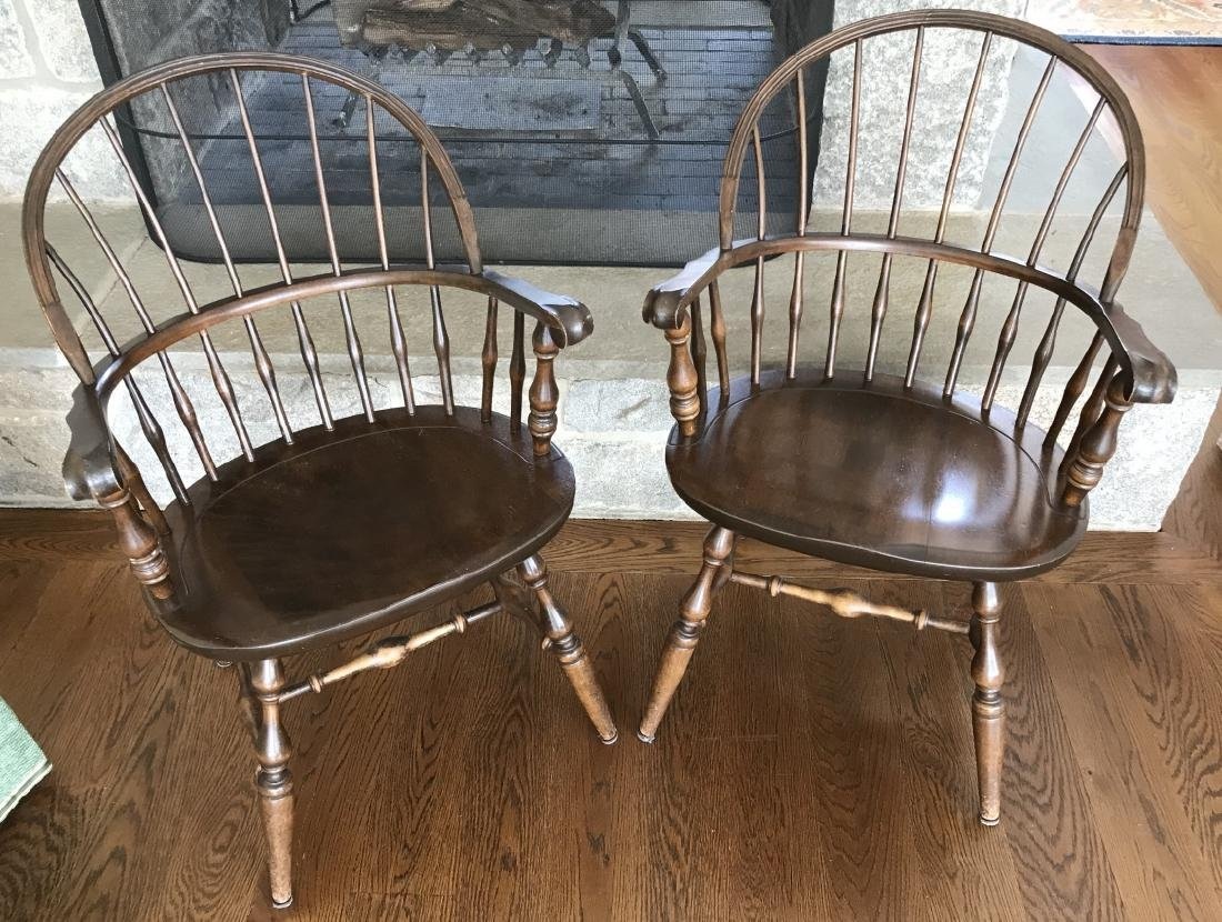 Pair Nichols & Stone Barrel Back Windsor Armchairs