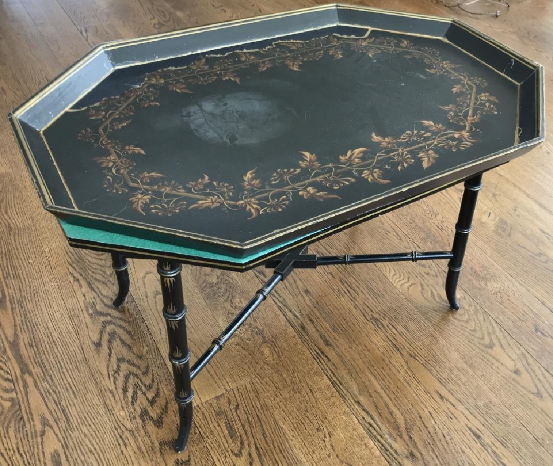 English Victorian Style Faux Bamboo Coffee Table