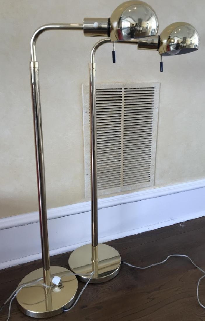 Pair of Gilt Brass Adjustable Height Floor Lamps