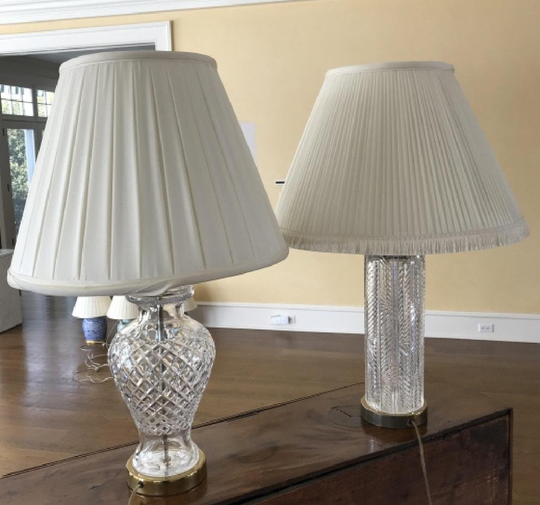 2 Contemporary Waterford Style Crystal Table Lamps