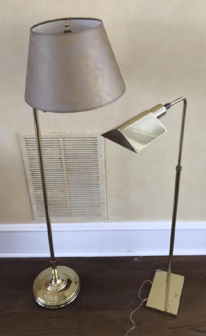 Two Gilt Brass Adjustable Height Floor Lamps
