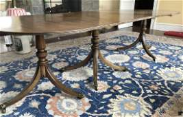 Triple Pedestal English Sheraton Dining Table