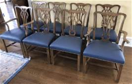 Eight English Chippendale Style Dining Chairs