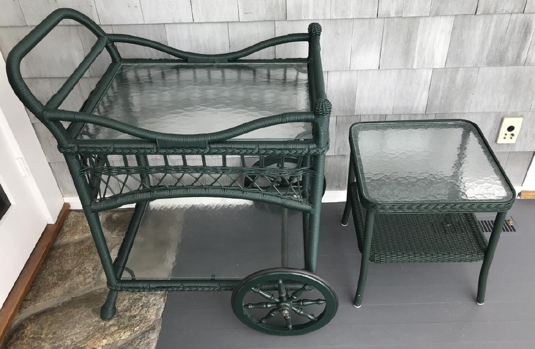 Contemporary Outdoor Green Wicker Tea Cart & Table