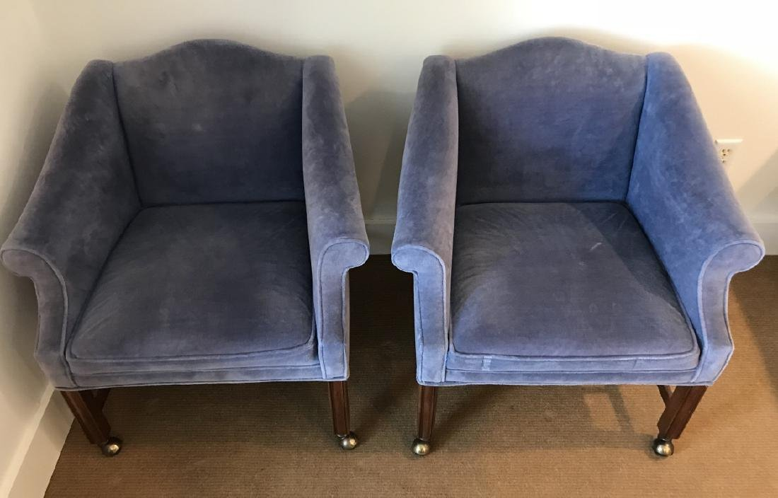 Pair of English Style Velvet Upholstered Armchairs
