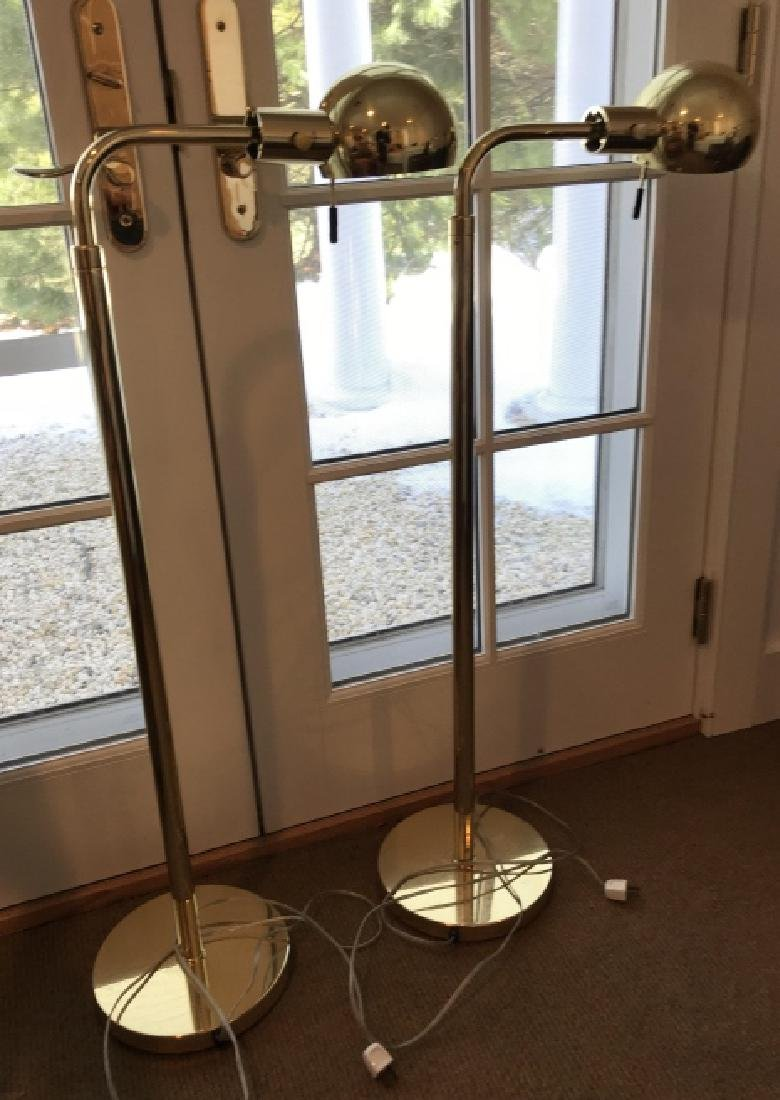 Pair of Gilt Brass Floor Lamps w Domed Shades
