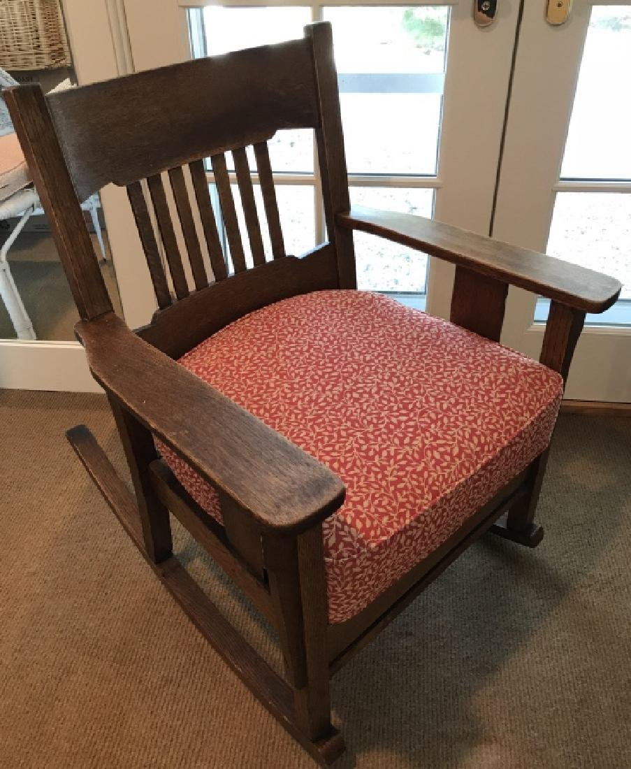 Craftsman Style Slat Back Wooden Rocking Chair