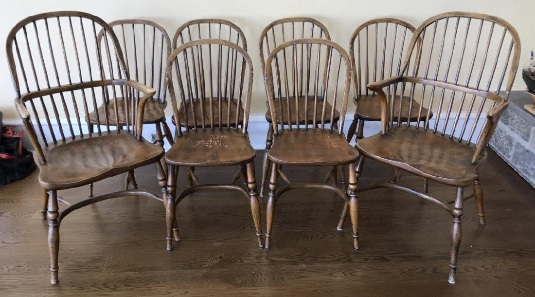 Eight English Windsor Barrel Back Dining Chairs