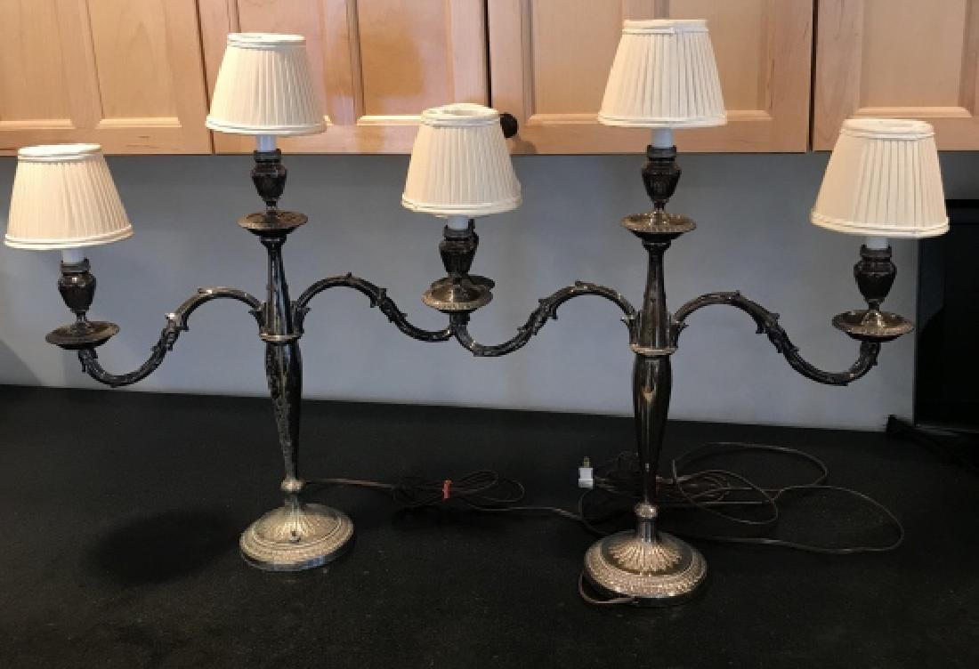 Pair Antique Silver Plate Candelabra Table Lamps