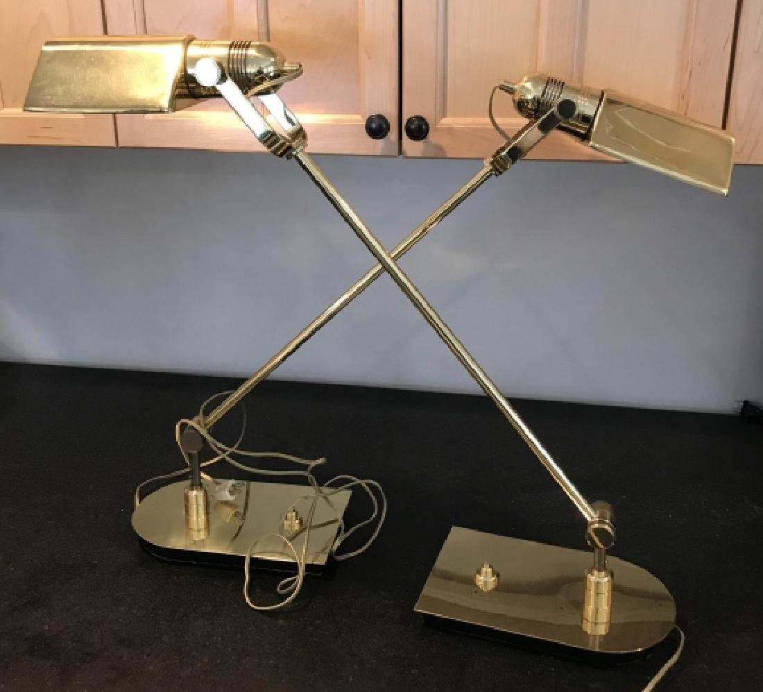 Pair of Gilt Brass Adjustable Table Lamps