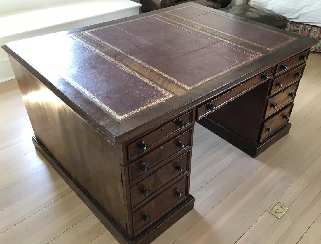 Antique 19th C English Leather Top Partner's Desk