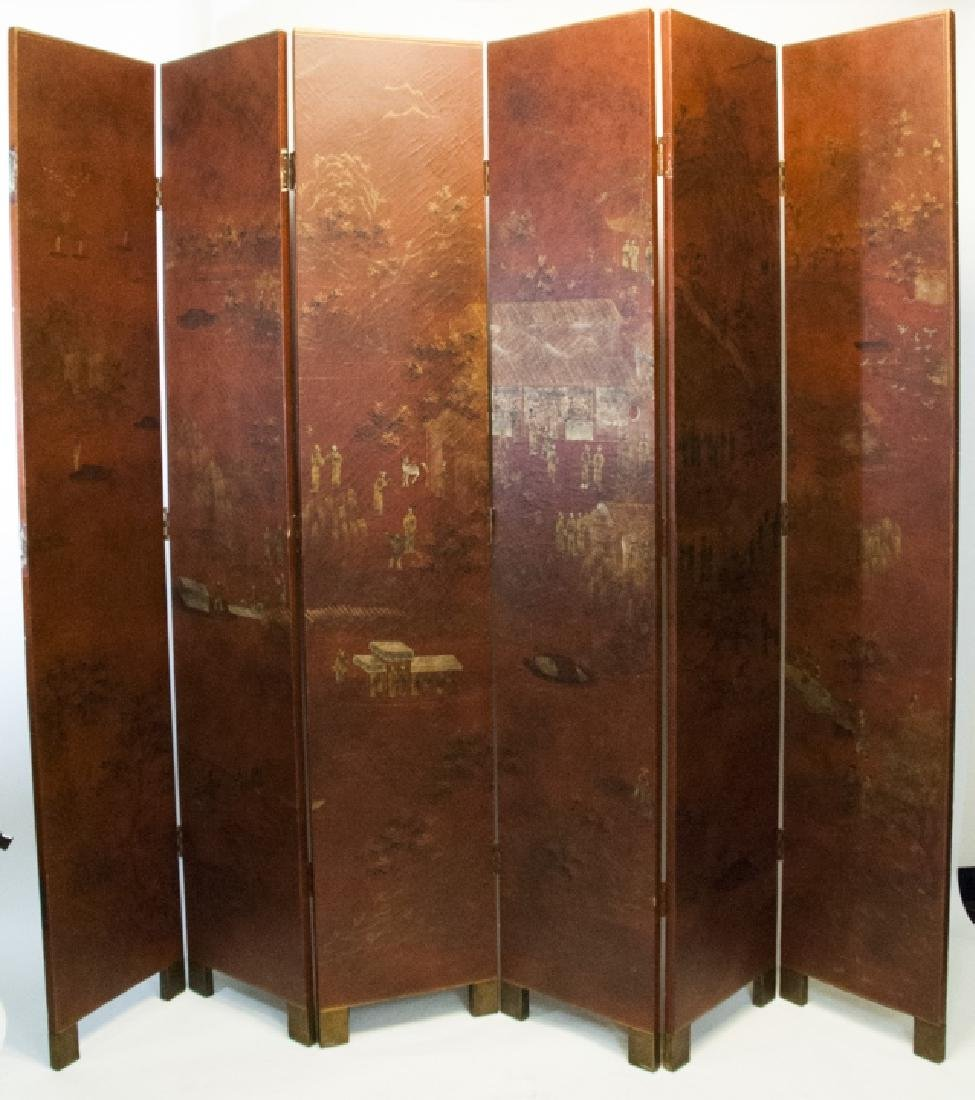 Chinese Red & Gold Large Scale Room Divider Screen