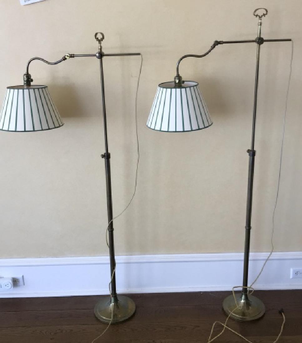 Pair Adjustable Height Bronze Finish Floor Lamps