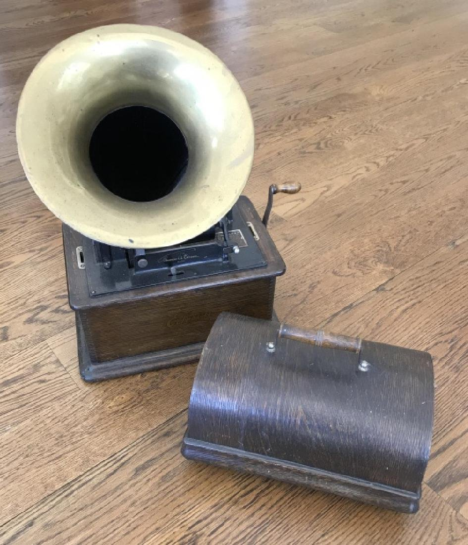 Antique Edison Player in Wooden Case w Horn