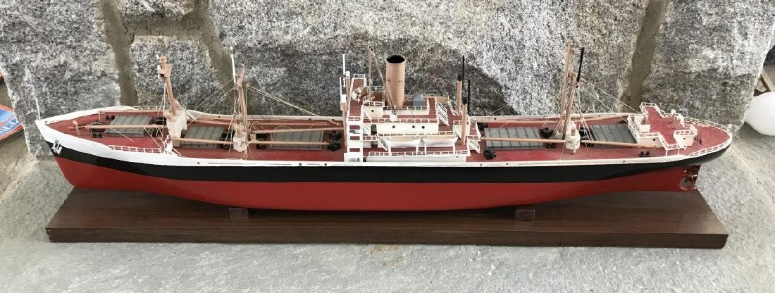 Vintage Hand Built Red & Black Ship Model
