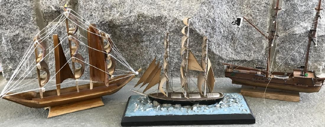Group of Three Vintage Hand Built Ship Models