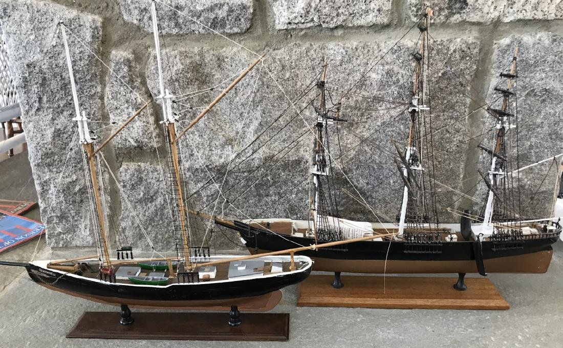 Two Vintage Hand Built Ship Models