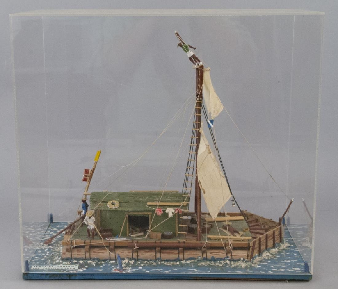American Folk Art Model Ship in Display Case
