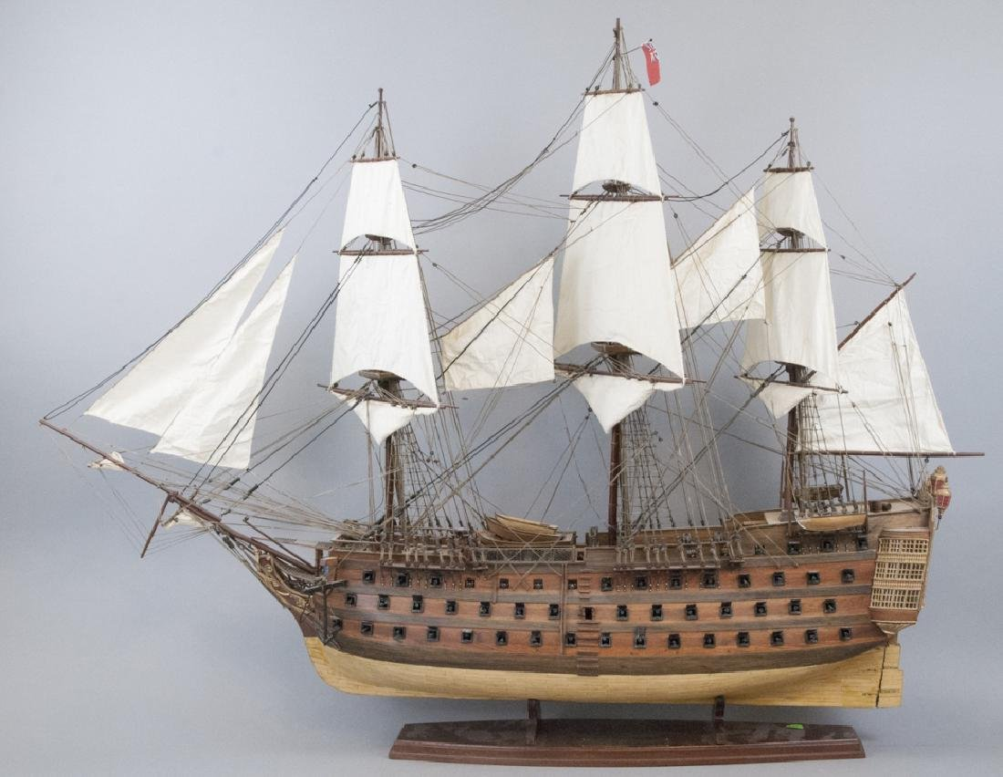 American Folk Art Model Ship on Display Stand