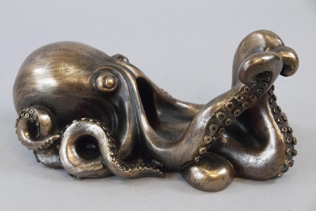 Figural Bronze Tone Octopus Wine Bottle Caddy