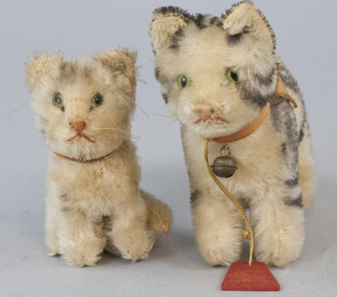 Two Antique German Steiff Stuffed Animal Cats