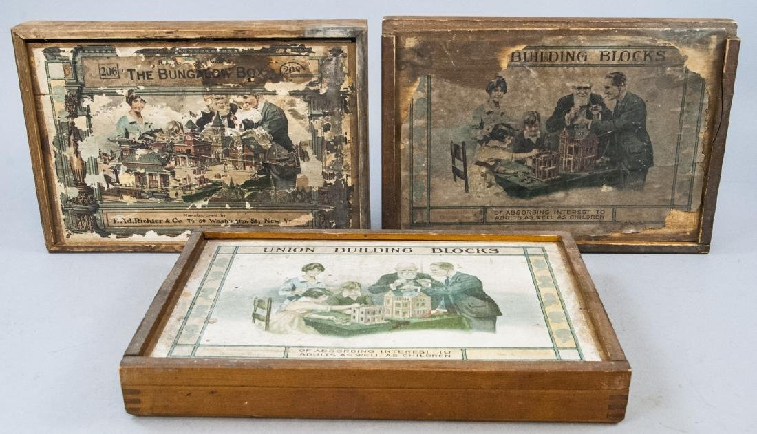 Three Antique German Boxed Toy Sets of Blocks