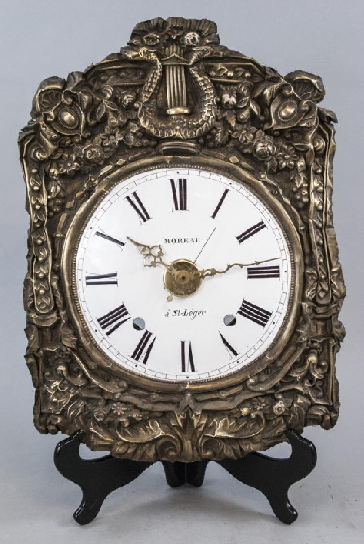 Antique 19th C French Enamel Morbier Wall Clock