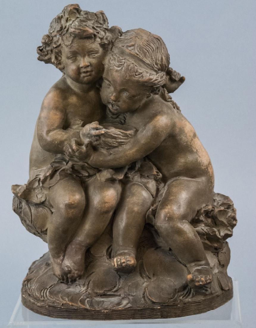 Antique French Terracotta Statue Children w Birds