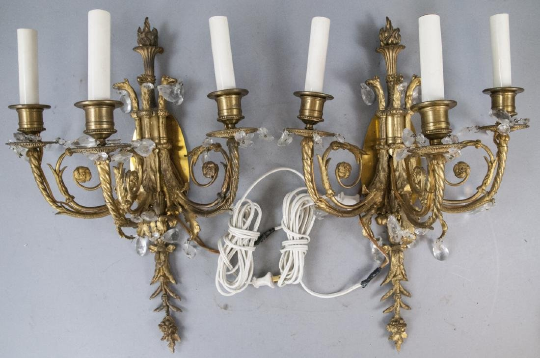 Antique Gilt Bronze Ormolu & Crystal Wall Sconces