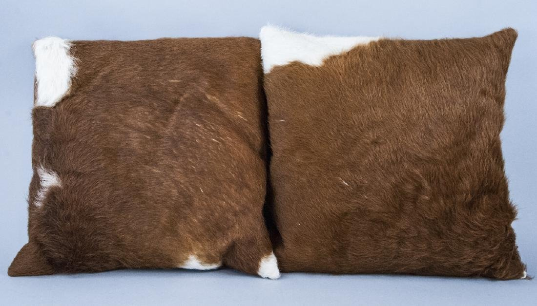Pair Pony Hair & Suede Argento Throw Pillows