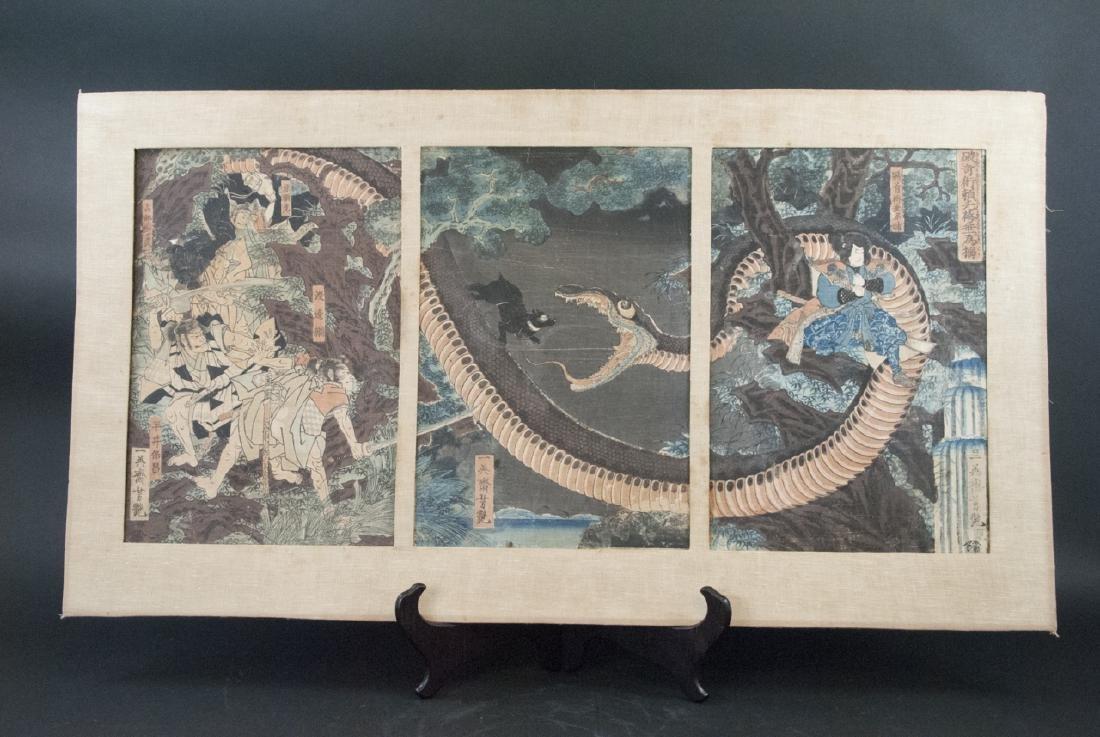 Antique Japanese Woodblock Print Snake Eating Dog