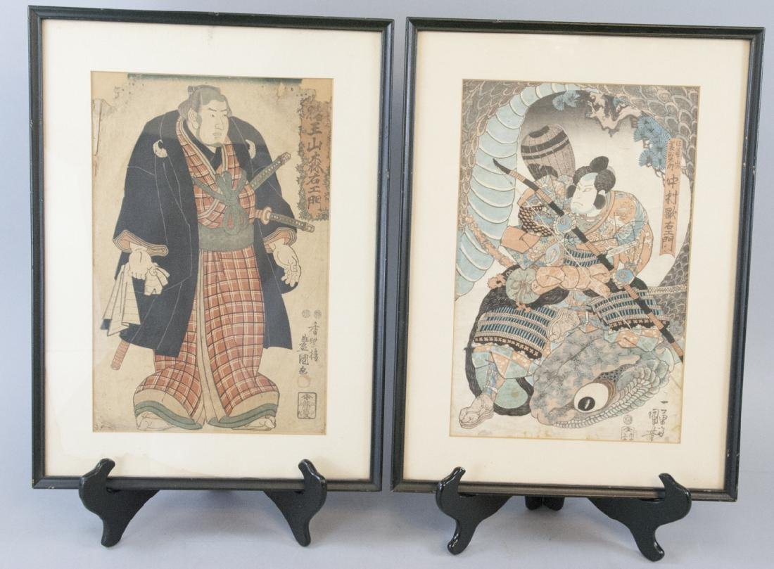 Pair Antique Japanese Woodblock Prints of Warriors