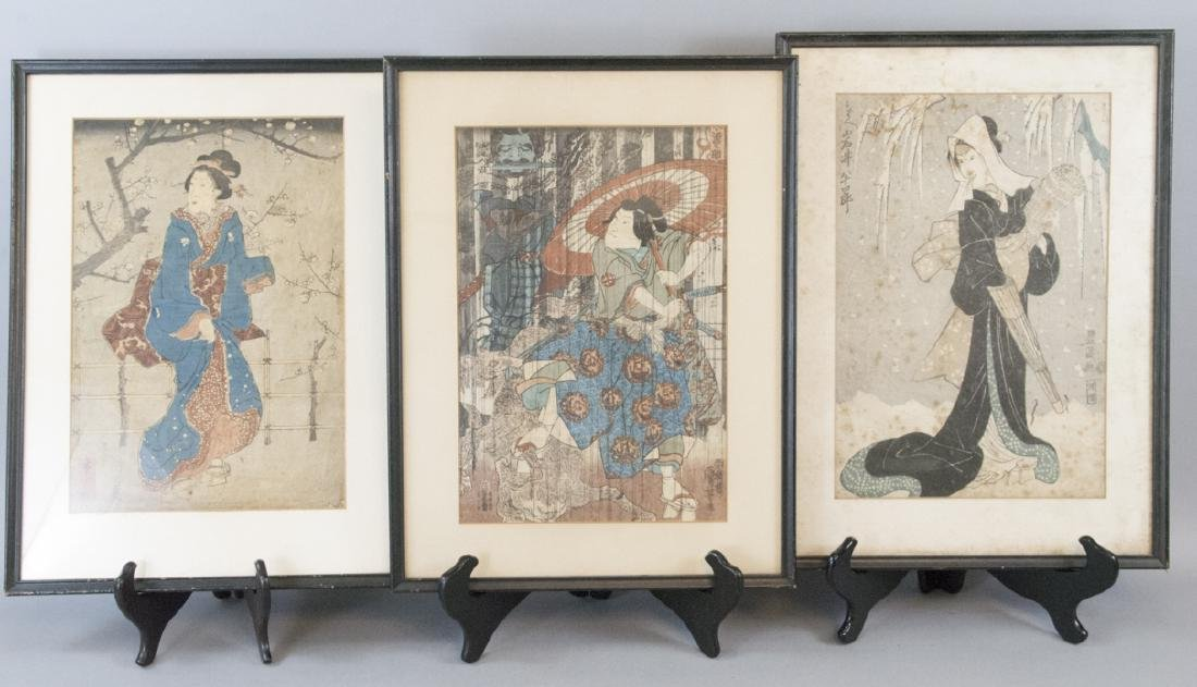 Three Antique Japanese Woodblock Prints of Figures