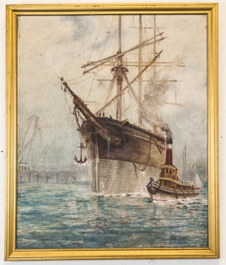 Peter Kerr American Harbor Oil Painting on Board