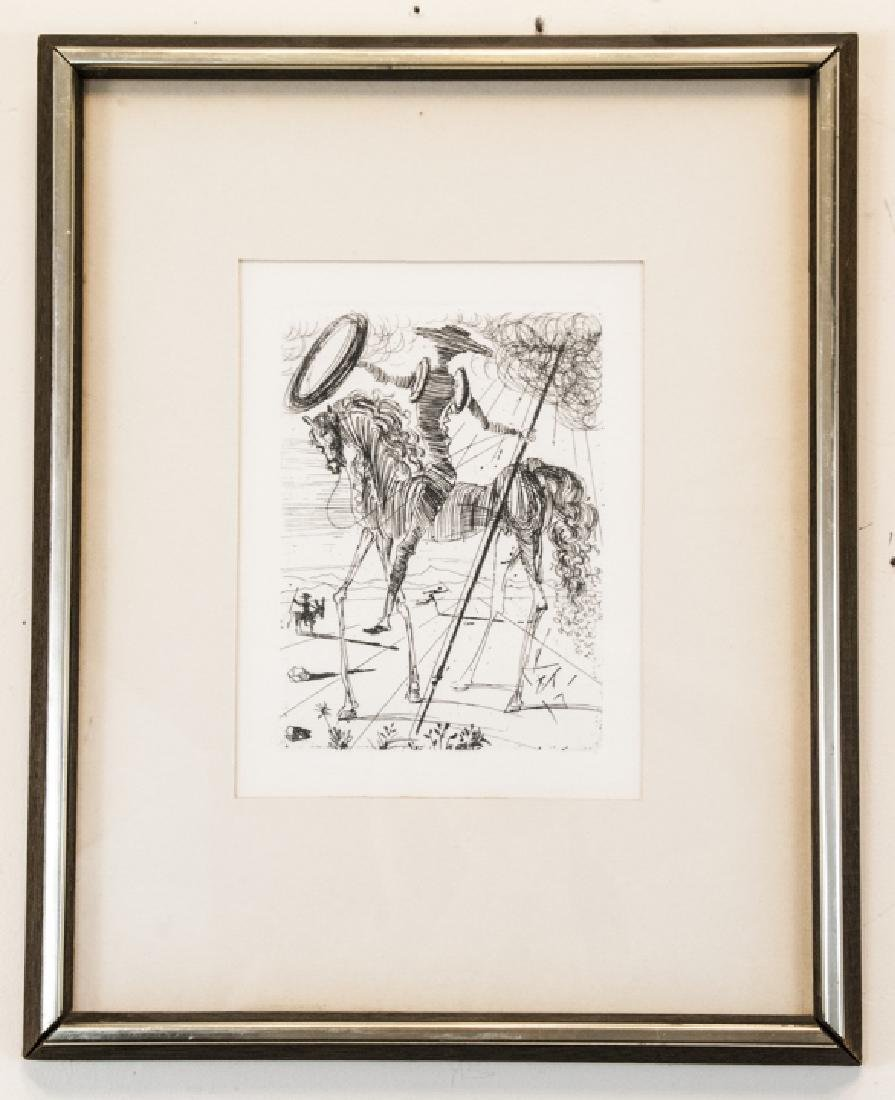 Salvador Dali Framed Don Quixote Engraving Print