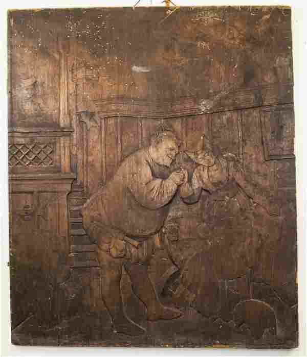 Antique Hand Carved Frans Hals Style Wall Panel