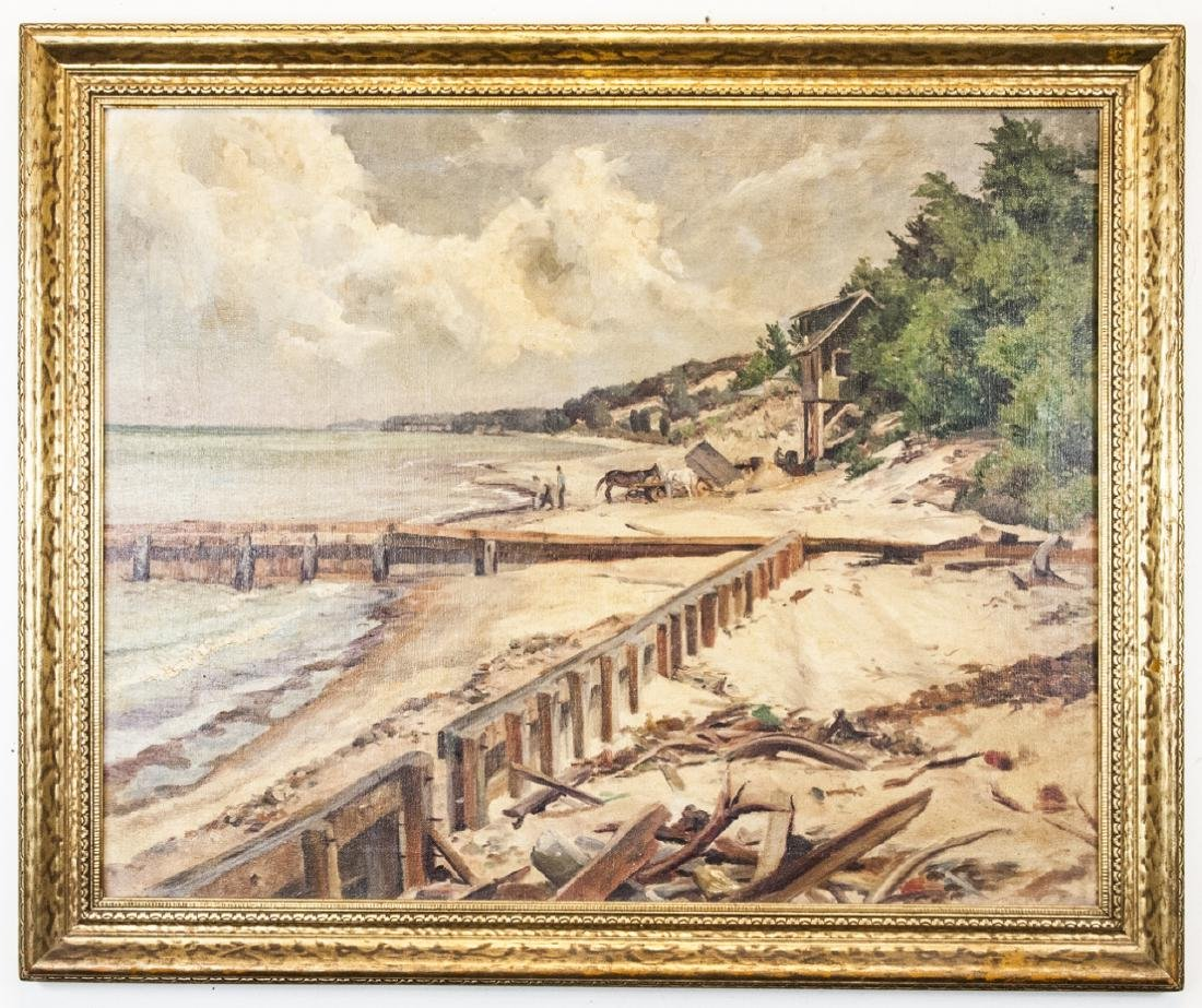 Antique American Coastal Landscape Oil Painting