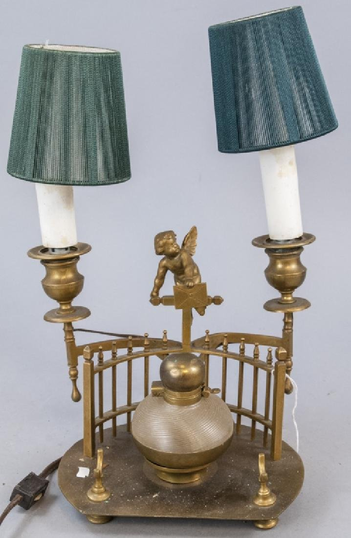 Antique Gilt Ormolu Cupid Cherub Inkwell Lamp