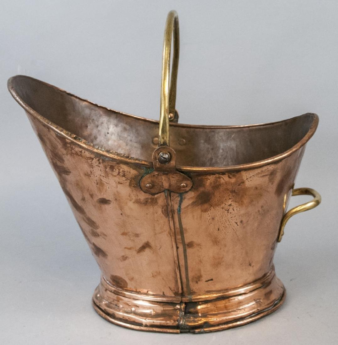 Antique 19th C Hammered Copper Coal Scuttle