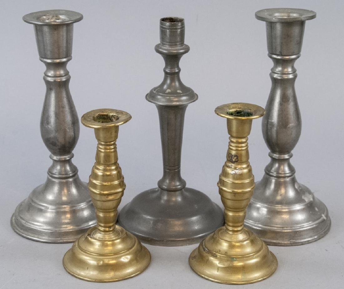 Antique Early American Pewter & Brass Candlesticks