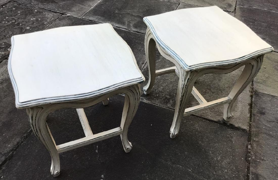 Pair White Carved Wood French Style End Tables