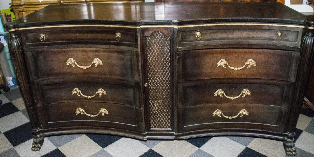 Italian Baroque Style Black & Gold Bedroom Bureau