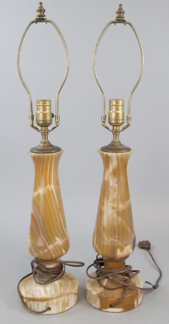 Pair of Carved Onyx Balustrade Form Table Lamps