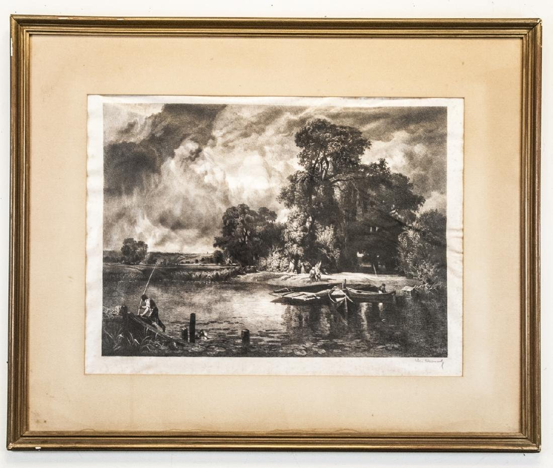 Antique Pencil Signed Large Landscape Engraving